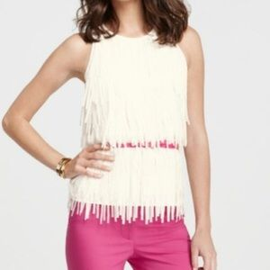 Ann Taylor NEW fringe top sleeveless size 6 cream